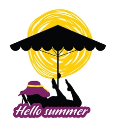 Hallo summer with girl beauty silhouette vector
