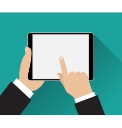 Hand touching screen of black tablet vector