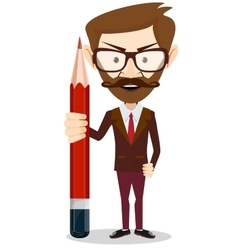 Handsome bearded businessman with pencil vector