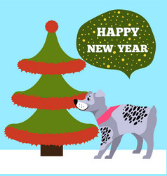 Happy new years placard with tree and puppy icons vector
