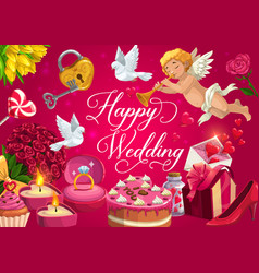 happy wedding marriage gifts cake and hearts vector image