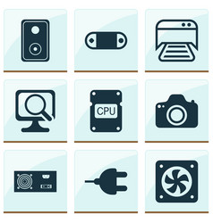 Hardware icons set includes icons such as audio vector