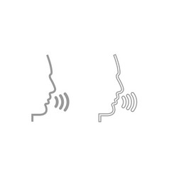 head speaking man icon grey set vector image