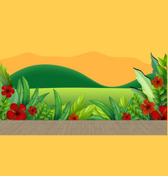 hibiscus flower and leaves with mountain backdrop vector image