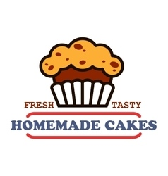 Homemade cakes and pastries sign for bakery design vector