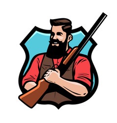 Hunter holds shotgun in his hands gun shop vector