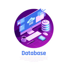 Isometric database connect background vector