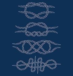 Knots contours doodle hand drawn white vector
