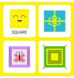 Learning square form shape Smiling face Cute vector