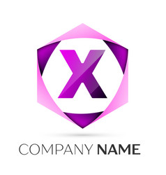 Letter x symbol in the colorful hexagonal vector