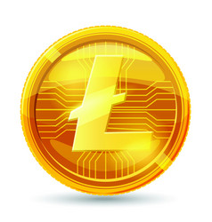 litecoin crypto 3d gold coins realistic vector image