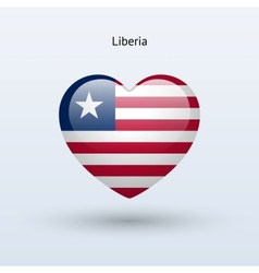 Love liberia symbol heart flag icon vector