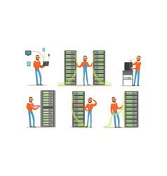man engineer working in server room digital vector image