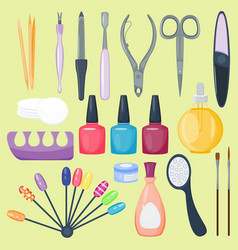 manicure nail instruments tools vector image