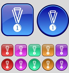 Medal for first place icon sign a set of twelve vector