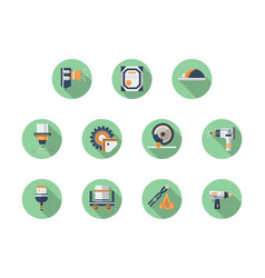 metal workshop equipment round flat icons vector image