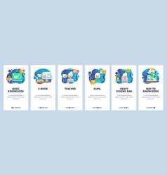 Mobile app onboarding screens school teacher and vector