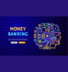 money neon banner design vector image