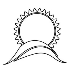 monochrome contour with sun over hill close up vector image