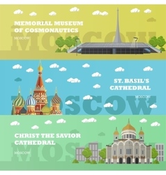 Moscow tourist landmark banners vector image