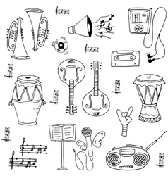 Music tool doodles on white backgrounds vector