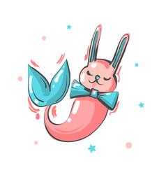 nursery card with cute bunny mermaid with vector image