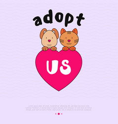 Pet adoption concept funny cat and dog with heart vector