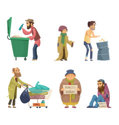 Poor and homeless adults people characters vector