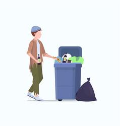 poor man beggar holding bottle alcohol tramp vector image