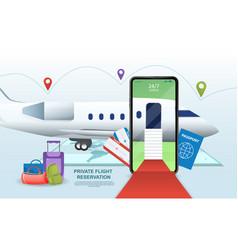 Private flight online registration concept vector