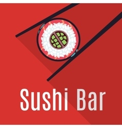 Red Japanese sushi bar food logo template vector