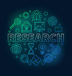 Research round outline bright vector
