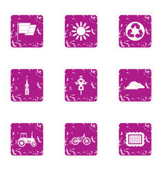 Safe plastic icons set grunge style vector