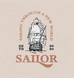 sailing boat vintage logo icon vector image
