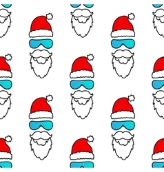 Santa claus with snow goggles seamless pattern vector