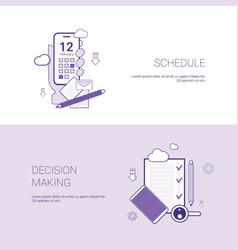 Schedule and decision making concept template web vector