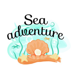 sea adventure poster with opened light seas hell vector image
