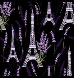 seamless pattern with lavender flowers and eiffel vector image