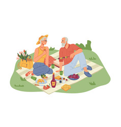 senior man and woman on picnic blanket with food vector image