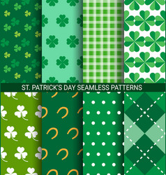 set abstract shamrock seamless patterns for st vector image