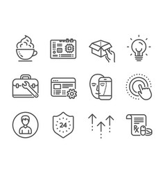 set business icons such as swipe up face vector image