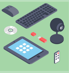 set isometric computer devices icons vector image