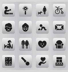 Set of 16 editable kin icons includes symbols vector