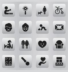 Set of 16 editable kin icons includes symbols vector