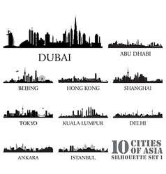Set of skyline cities silhouettes vector image
