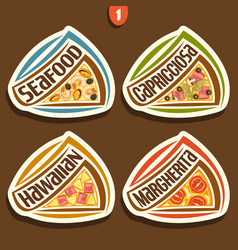 Set signs for italian pizza vector