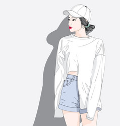 she is waiting for her lover while shopping vector image
