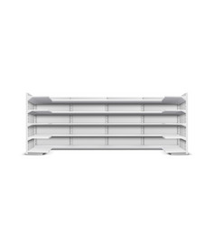 shop long rack empty shelves realistic vector image