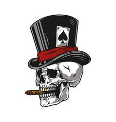 Skull smoking cigar in top hat vector