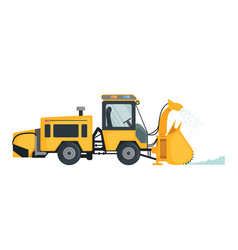 Snow plow truck in flat style isolated on white vector